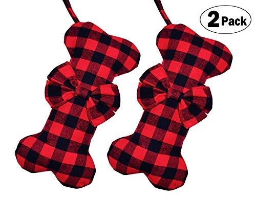 Senneny 2 Pack Pet Dog Christmas Stockings Classic Buffalo Red Black Plaid Large Bone Shape Hanging Christmas Stocking for Dogs Pets