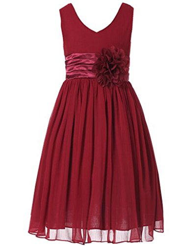 Bow Dream Flower Girl Dress Junior Bridesmaids V-Neckline Chiffon Wine 16]()