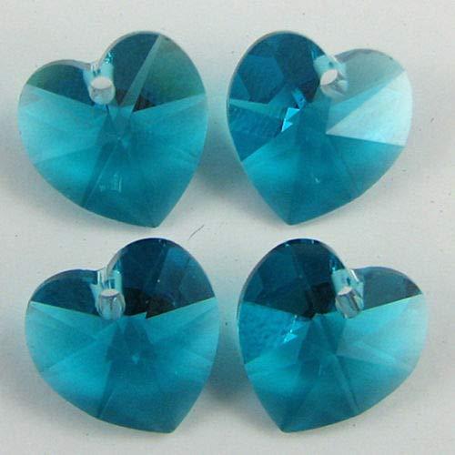 4 10mm Swarovski Crystal Heart Pendant 6202 Blue Zircon -