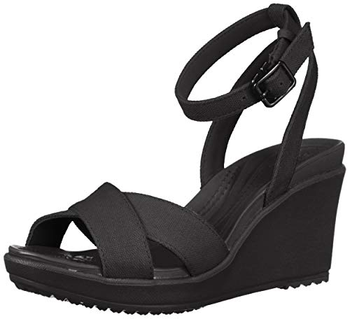 Crocs Women's Leigh II Ankle Strap Wedge W Sandal, Black/Black, 4 M US