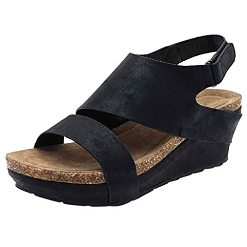 Wobuoke Fashion Womens Platformed Wedges Open Toe Adjustable Ankle Roman Sandals Black ()