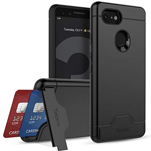 Teelevo Wallet Case for Google Pixel 3 - Dual Layer Case with Card Slot Holder and Kickstand for Google Pixel 3 (2018) - Black