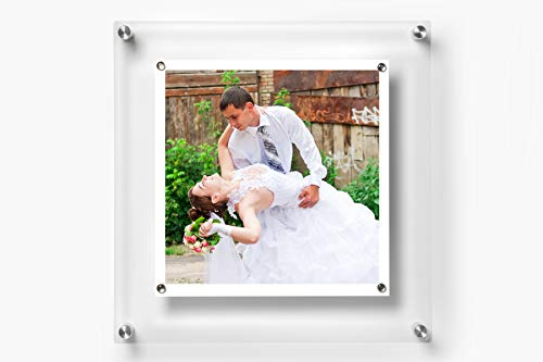 Wexel Art 14x14-Inch Be Square Magnetic Single Panel Framing Grade Acrylic Floating Frame with Silver Hardware for 12x12-Inch Art & Photos ()