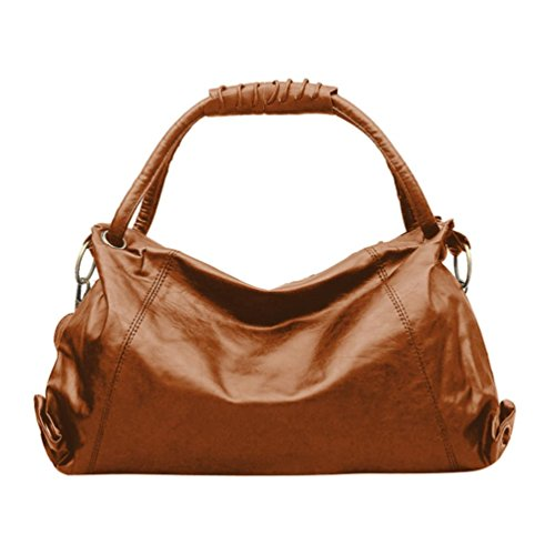 YJYDADA Women Girl Fashion Leather Hobos Bag Handbag Shoulder Bags (Brown) by YJYDADA