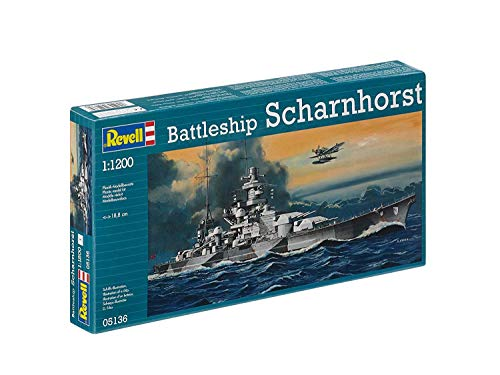 (Revell 05136 WWII German Battleship Scharnhorst 1/1200 Scale Plastic Model Kit)