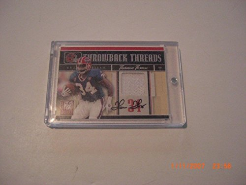 Thurman Thomas 08donruss Throwback Threads Game Used Jersey Auto 1/5 Signed Card - Football Game Used (Thomas Signed Nfl Game Football)