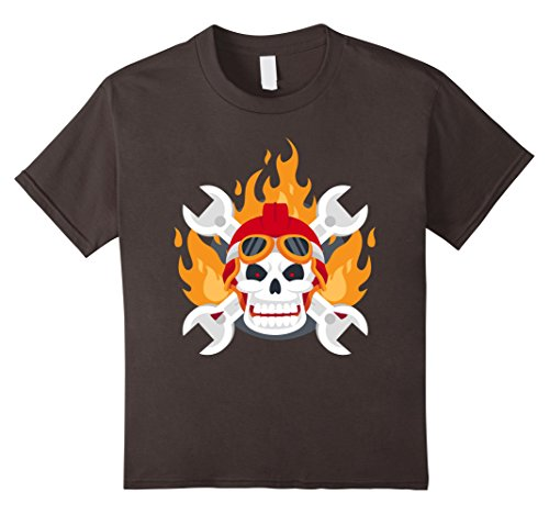 Flaming Skeleton (Kids FLAMING SKELETON SKULL Halloween T-Shirt Scary Fire 12 Asphalt)