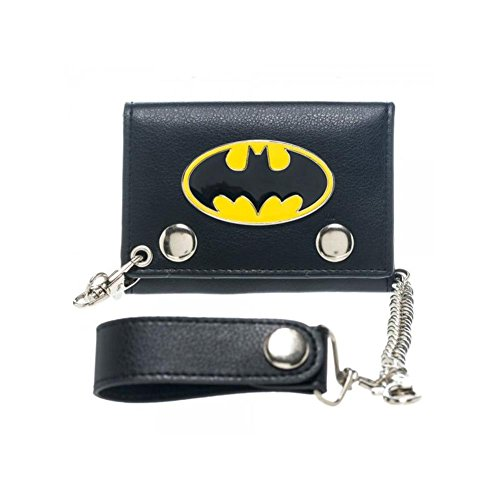 Metal Badge Chain Wallet - DC Comics Batman Metal Badge Tri-Fold Chain Wallet w/Gift Box by Superheroes Brand