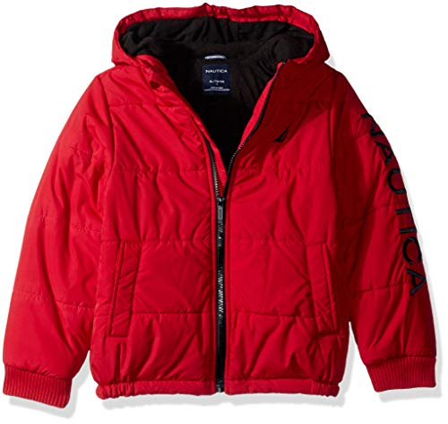 Nautica Boys' Big Water Resistant Signature Bubble Jacket with Storm Cuffs, Austin red, Medium (10/12)