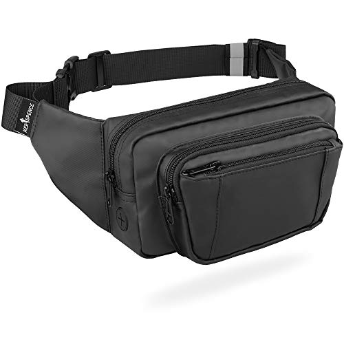 Fanny Pack for Women & Men, Hip Bum Bag Waist Pack Anti-Theft with RFID Blocking, Black Fanny Pack for Travel Walking Hiking Cycling (Pack Cycling Fanny)