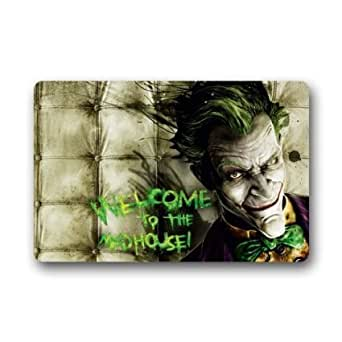SENL B.Baya Welcome to The Madhouse Cool Joker Smile Custom Doormat 23.6x15.7 Inch Machine-Wahable Mat Stylish Design Personalized Neoprene Rubber Doormat Doormat Floor Mat Indoor/Outdoor Mats