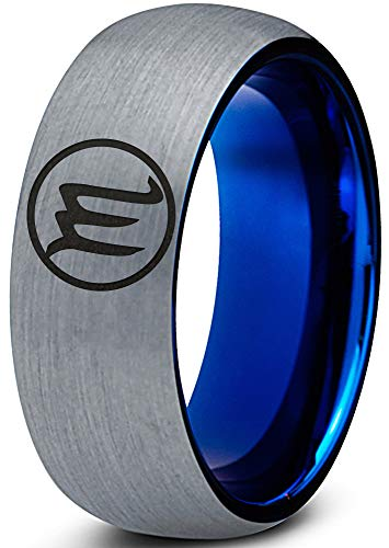 Zealot Jewelry Tungsten Horoscope Zodiac Astrology Scorpio Band Ring 8mm Men Women Comfort Fit Blue Dome Brushed Gray Polished Size 9.5