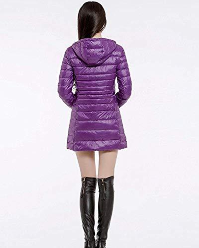 Piumino Appendere Dimensione Viola Rosso 3xl Lungo Zhrui Con Vino Cappuccio colore Caldo Da Leggero Donna gfaxwRq4