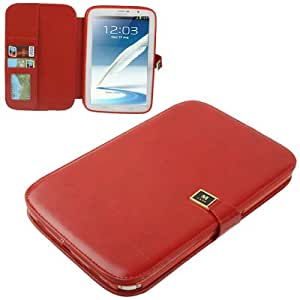 High Quality Crazy Horse Texture Flip Leather funda case cover + Lápiz GRATIS con Holder & bolsillos internos para Samsung Galaxy Note 8.0/N5100(Red)