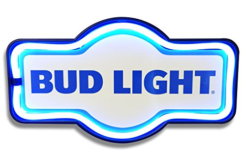 - Bud Light Budweiser Bar - Reproduction Vintage Advertising Marquee Sign - Battery Powered LED Neon Style Light - 17 x 10 x 3 Inches