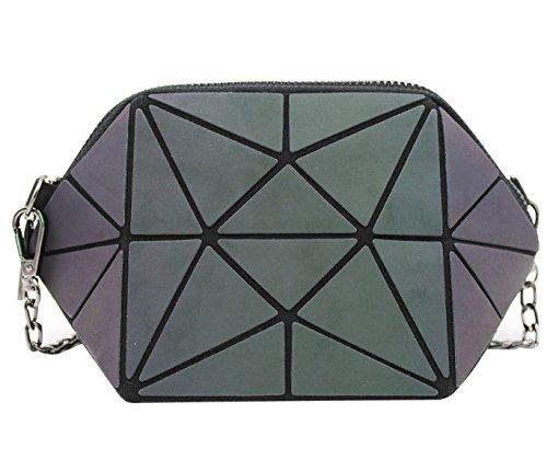 Women Holographic Geometry Crossbody Shoulder Bag Laser Lattice Chain Bag Wristlet Clutch (Laser Hiking Strap)
