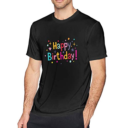 NCNET Men's Big Tall T-Shirt Printed Happy Birthday Crewneck Athletic Short Sleeve for Youth Adult S-6XL Black]()