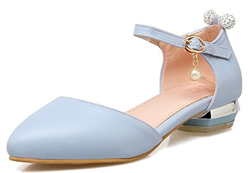 IDIFU Women's Sweet Rhinestones Pendant Closed Pointed Toe Low Top Buckled Pumps Shoes With Ankle Strap Blue 8.5 B(M) US