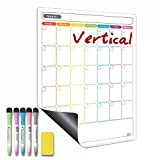 Dry Erase Calendar - Magnetic Calendar for Refrigerator - Vertical Monthly Fridge Calendar Whiteboard with Thickened Magnet Included Fine Point Marker & Eraser & Holes for Wall Hanging (Vertical Monthly)