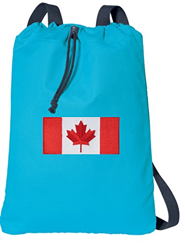 Canada Drawstring Backpack Canadian Flag 100% COTTON Cinch Bag (Backpack Flag Canada Women compare prices)