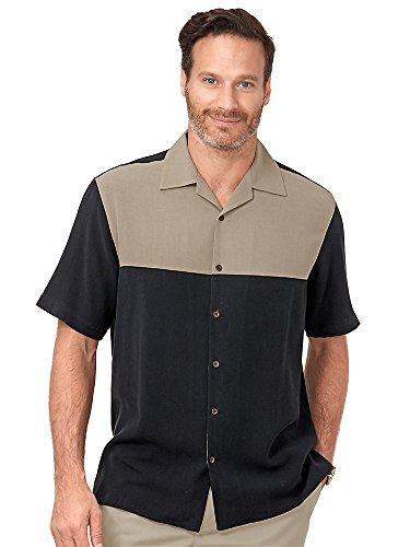 Paul Fredrick Men's Silk Panel Camp Shirt Black/Brown 3XL Tall (Panel Shirt Camp Silk)