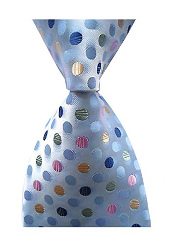 (Secdtie Men's Classic Checks Light Blue White Jacquard Woven Silk Tie Necktie (One Size, Blue Polka)