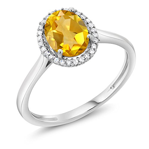 10K White Gold Diamond Halo Engagement Diamond Ring 1.30 Ct Oval Yellow Citrine (Available in size 5, 6, 7, 8, 9)