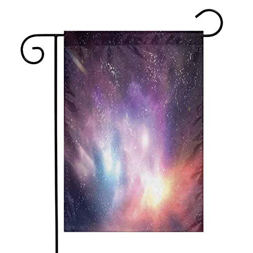 Portly Birds Garden Flag - seedine Decorative Garden Flag Holiday Decoration Galaxy Outer Space Stars Sky Dreamy Cosmos Universe Nebula Constellation Image 12.5 x 18 Inch Purple Coral Pale Blue