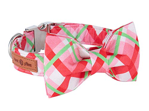 Lionet Paws Christmas Dog Collar Bowtie Durable Adjustable Handmade Comfortable Cotton Bow Tie Dog Collar Cat Collar Metal Buckle XS Dogs Cats,Party,Festival,Holiday Style,Neck 8-12in