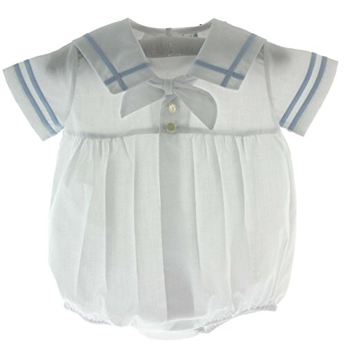 Baby Boys White & Blue Sailor Bubble Outfit (NB) ()