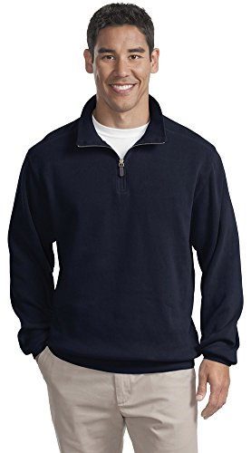 Port Authority Flatback Rib 1 4 Zip Pullover  S  Navy
