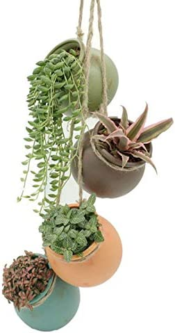 Yesland 4 Sets Ceramic Hanging Mini Flower Planters, Wall or Ceiling Mount – Dangling Container in Earth Tone Colored for Indoor Outdoor Decor
