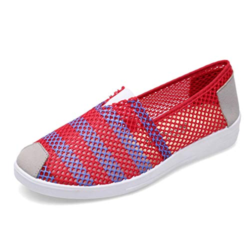 York Zhu Women Flats Shoes,Breathable Mesh Hollow Out Comfortable Casual Slip-on Loafers -