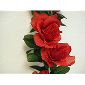 Roses Garland Artificial Silk Flower 6 ft Vine FV094 RED 79