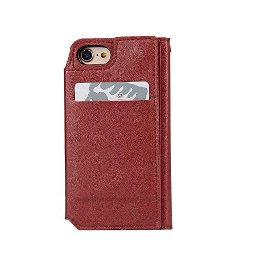 Funda iPhone 7 Case [Espejo Cosmetico] Desmontable Multifuncional Carcasa PU Leather Cuero Artificial de Calidad Superior Protectora Case Cover Sunroyal iPhone 7 Concha Wallet Maquillaje Mirror Shell  A-08