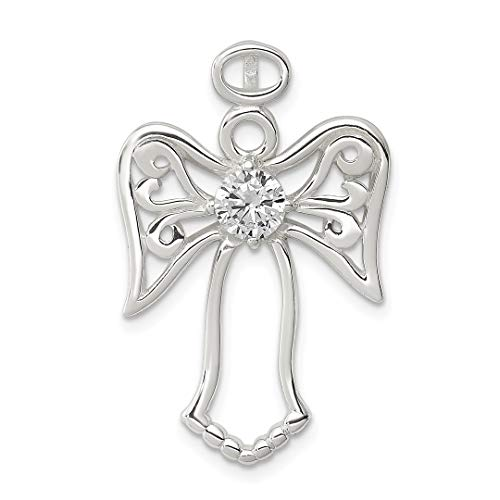 925 Sterling Silver Cubic Zirconia Cz Angel Pendant Charm Necklace Religious Fine Jewelry For Women Gift Set