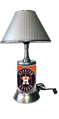 JS Astros Table Lamp with Silver Colored Shade, Your Favorite Team Plate Rolled in on The lamp Base, Houston A