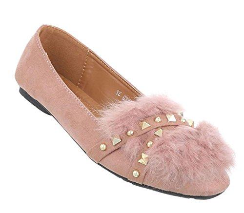 Damen Ballerinas | Slippers Velours | Kunst Fell Schuhe | Ballerina Schuhe Slipper |Puschel Slipper Slip-Ons | Elegante Flats Partyschuhe | Schuhcity24 Altrosa