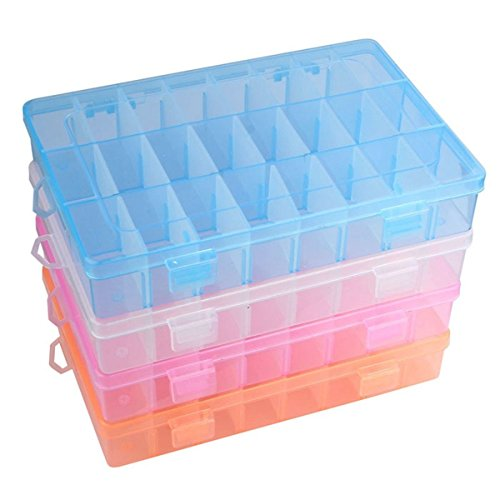 Tacoli- Bead Container Box- 4 Colors Adjustable 24 Compartment Plastic Storage Box Bead Jewelry Earring Case Display Organizer by Tacoli