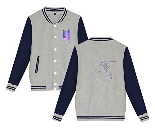 Béisbol BTS Unisex Abrigo Coat con Botones Chaquetas Abrigos de Chaqueta Grandes Hipster De Jacket Outwear Tallas Haililais Parejas SBdqxFtx