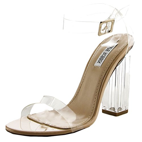 - Cape Robbin Maria-2 Women's Lucite Clear Strappy Block Chunky High Heel Open Peep Toe Sandal, Transparent 9