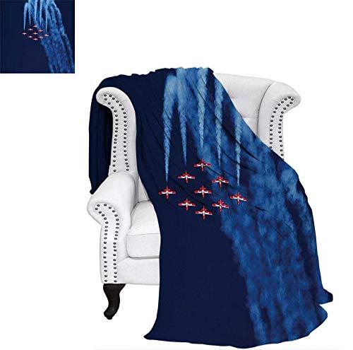 "Lightweight Blanket Digital View Canadian Descending Snowbirds Up in The Air Military Flight Image Digital Printing Blanket 60""x50"" Dark Blue Red"