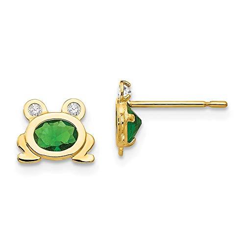 14K Yellow Gold Madi K Children's 8 MM CZ Frog Post Stud Earrings