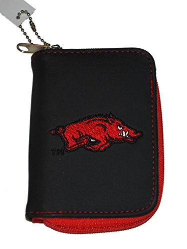 Arkansas Razorbacks Alan Stuart Black Leather Style Zipper Wallet 3.5
