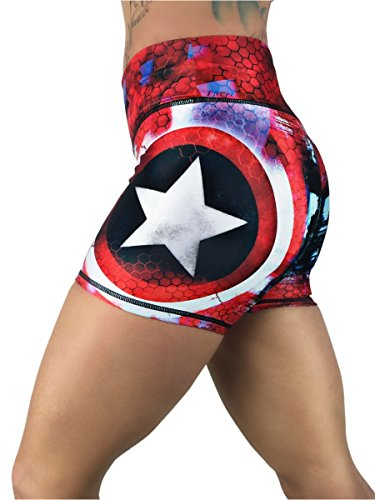 Captain America Superhero Crossfit Yoga Women's Booty Boy Gym Shorts