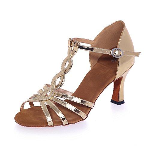 L@YC Women Dance Shoes Latin / Ballroom artificial Leather High 7.5cm Gold / Silver / Customizable Gold HAZRxG7P