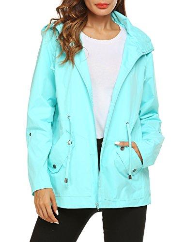 ZHENWEI Raincoat for Women Waterproof Hooded Light Cycling Outdoor Outfit Travel Coat