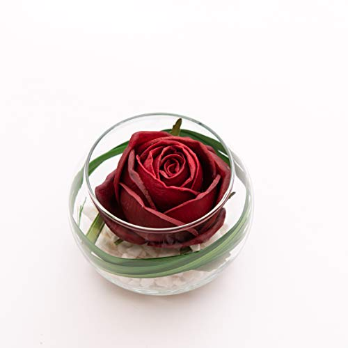FRP Flowers - Flower Buds in Glass Vase - Real Touch Latex Artificial for Decorations, Centerpieces, Arrangements, or Home/Office Decor (Red Rose)