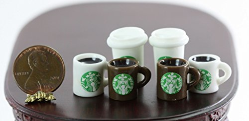 Dollhouse Miniature Set of 6 Popular Coffee Chain Cups