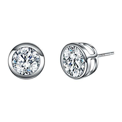 - EVER FAITH 925 Sterling Silver Round Cut CZ Simple 8MM Basket Set Stud Earrings Clear